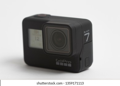 Belgrad, Serbia - April, 3 2019: GoPro Hero 7 black action camera isolated on the white background.
