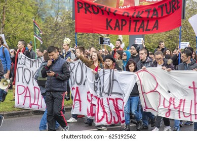 BELGRADE - APRIL 2017: Citizens of Serbia marching the streets of Belgrade in a peaceful protest against the results of the Presidential Elections held in Belgrade, April 2017