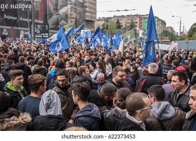 BELGRADE - APRIL 2017: Protest against election of premier Aleksandar Vucic as president, Belgrade, Serbia