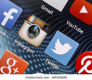 BELGRADE - APRIL 26, 2014 Popular social media icons Instagram, Twitter and other on smart phone screen close up