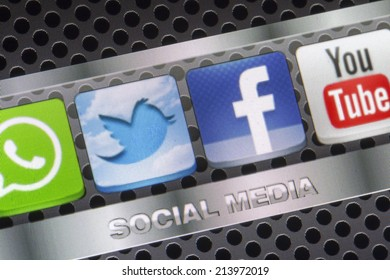 BELGRADE - AUGUST 30, 2014 Social media icons Twitter, Facebook, Youtube and other on smart phone screen close up