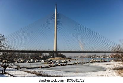 Belgrade capital city of Serbia winter landscape