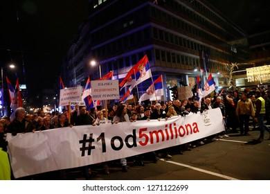BELGRADE - DECEMBER 2018: Protest against the Serbian president in Belgrade, on December 29, 2018. Thousands of protesters marched in the Serbia's capital Belgrade on December 29, 2018