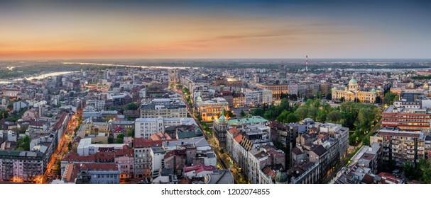Belgrade downtown, New Palace, City Assembly of Belgrade, National Assembly of the Republic of Serbia, dusk aerial panorama