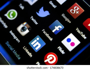 BELGRADE - FEBRUARY 04, 2014: Popular social media icons on smart phone screen