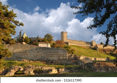 Belgrade Fortress. East part of wall with Tower with Despot Gate, Ruzica Chapel and ruins of Medieval Down Town.