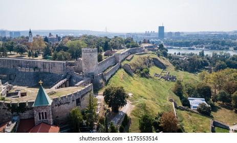 Belgrade Fortress or Kalemegdan castle in Belgrade, Serbia. From the Sky.