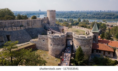 Belgrade Fortress or Kalemegdan castle in Belgrade, Serbia. From the Sky.