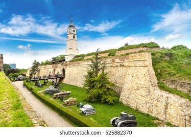 Belgrade fortress Kalemegdan in Serbia in a beautiful summer day