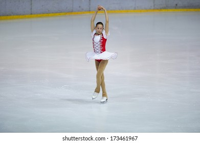 """BELGRADE - JANUARY 23: Slovenia's Masa Doler performs her free skating program at  Europa Cup figure ice skating competition """"Skate Helena"""" in Belgrade, Serbia on January 23, 2014"""