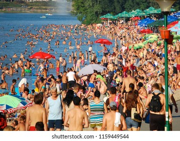 Belgrade, July 27, 2013. Belgrade Lake Ada Ciganlija. Over the summer months there are over 100,000 Belgraders find refreshments in the water of the lake.