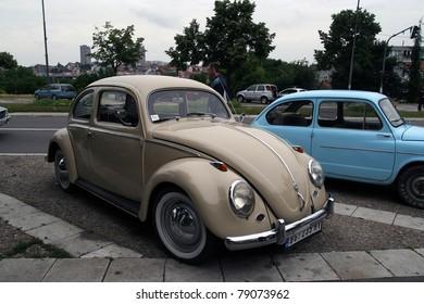 BELGRADE - JUNE 11: A Volkswagen Beetle and Fiat 500 on 51st Oldtimer's Motor Show June 11, 2011 in Belgrade, Serbia.