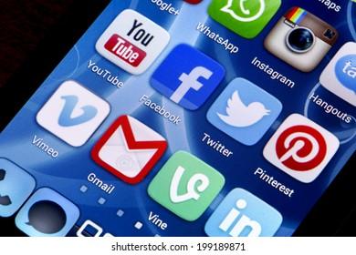 BELGRADE - JUNE 17, 2014: Popular social media icons on smart phone screen