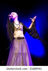 BELGRADE - JUNE 6: Fado singer, Mariza, sings during concert  June 6, 2005 in Belgrade, Serbia.