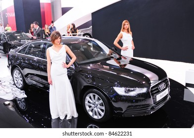 "BELGRADE - MARCH 26: ""49th International Belgrade car show"" presents Audi A6 at the Belgrade car show on March 26, 2011 in Belgrade, Serbia."