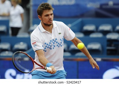 "BELGRADE - MAY 5: Stanislas Wawrinka returns the ball during ""Serbia Open 2010"" ATP World Tour match against Alessio Di Mauro May 5, 2010 in Belgrade, Serbia."