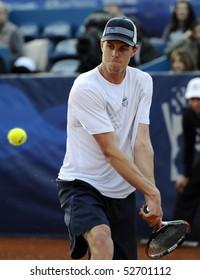 "BELGRADE - MAY 9: Sam Querrey returns the ball during ""Serbia Open 2010"" ATP World Tour final match against John Isner May 9, 2010 in Belgrade, Serbia."