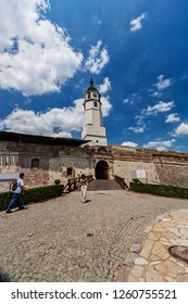 Belgrade medieval walls of fortress and old clock tower in day time, Serbia