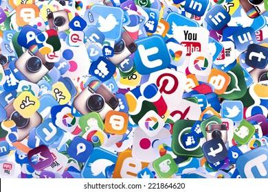 BELGRADE - OCTOBER 06, 2014 Social media logos Facebook, Twitter and other printed on paper