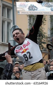 BELGRADE, OCTOBER 16: 2nd BELGRADE RED BULL HAND-MADE VEHICLES WITH THREE WHEELS RACE,Winner,Nikola Vuckovic(SRB)with prize of 1,000 Euros  OCTOBER 16, 2010 in BELGRADE,SERBIA