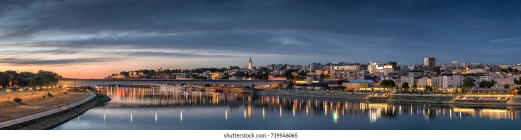Belgrade, Old City, Cathedral, Branco's Bridge Sava River at Dusk, City Lights Water Reflections