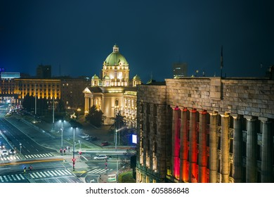 Belgrade panorama at night, Serbia