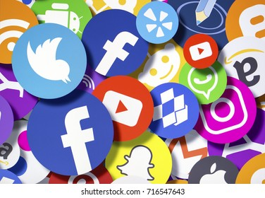 BELGRADE - SEPTEMBER 17, 2017: Photo of Social media icons and logos Facebook, Twitter, Instagram, Snapchat, Whatsapp, Youtube, Google and other on computer monitor screen