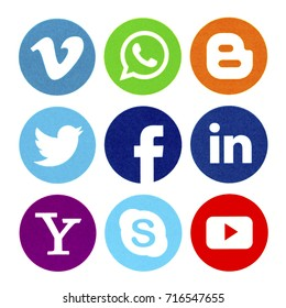 BELGRADE - SEPTEMBER 17, 2017: Set of popular social media icons printed on white paper: Facebook, WhatsApp, Twitter, Linkedin. Blogger, You tube, Vimeo, Yahoo and Skype