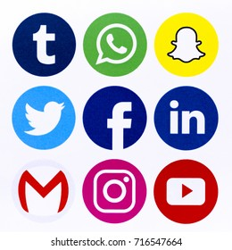 BELGRADE - SEPTEMBER 17, 2017: Set of popular social media icons printed on white paper: Facebook, Youtube, Instagram, WhatsApp, Twitter, Linkedin. Snapchat, Gmail and Tumbir