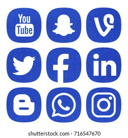 BELGRADE - SEPTEMBER 17, 2017: Set of popular social media icons printed on white paper: Facebook, Instagram, WhatsApp, Twitter, Linkedin. Vine, Blogger, You tube and Snapchat