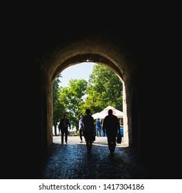 BELGRADE, SERBIA - 01, JUNE 2019 : People walking through the tunnel in Kalemegdan fortress in Belgrade