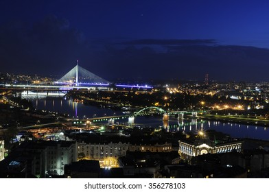 Belgrade, Serbia - 02. May  2015.,Panoramic view of the Belgrade, capital of Serbia bridges and river Sava, also Savamala and New Belgrade during the night from one of the downtown highest buildings