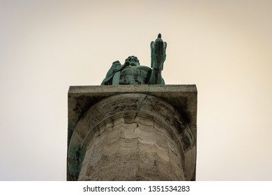 Belgrade, Serbia - 03 20 2019: Close up, low angle view of famous monument The Victor (Pobednik) in Belgrade fortress against a golden hour sky