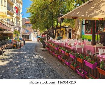 Belgrade, Serbia - 07 20 2018: Bohemian district Skadarlija at summer time