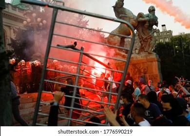 Belgrade, Serbia - 07.08.2020. Thousands protest in Belgrade as Serbia reimposes Covid-19 curfew, Belgrade, Serbia, 08 July 2020.