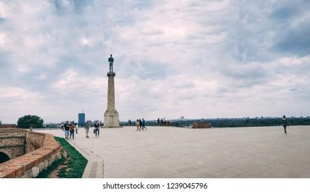 Belgrade, Serbia - 07/17/2018.  Pobednik or Monument to the Winner in the Belgrade Fortress