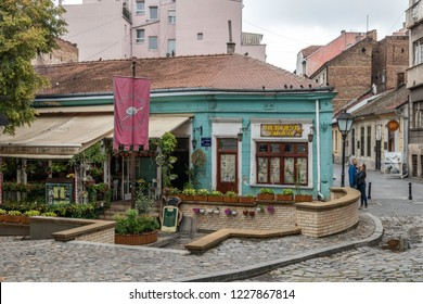 Belgrade, Serbia - 08.27.2018: Begining of Vintage street Skadarlija