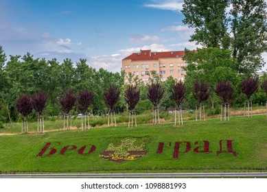 Belgrade, Serbia 12.05.2018 -  Coat of arms and name of the city written with flowers arrangement beside highway