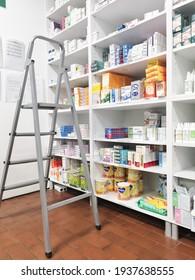 Belgrade, Serbia. 16.03.2021. Medicines in pharmacy store.