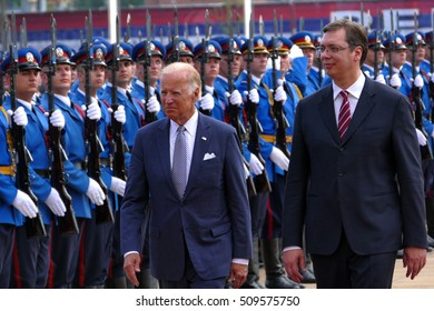 Belgrade, Serbia. 16th August, 2016. US Vice President Joseph 'Joe' Biden begins official visit to Belgrade, Serbia. Serbian PM Aleksandar Vucic host US Vice President