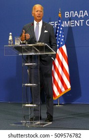Belgrade, Serbia. 16th August, 2016. US Vice President Joseph 'Joe' Biden and Serbian PM Aleksandar Vucic holds a joint press conference