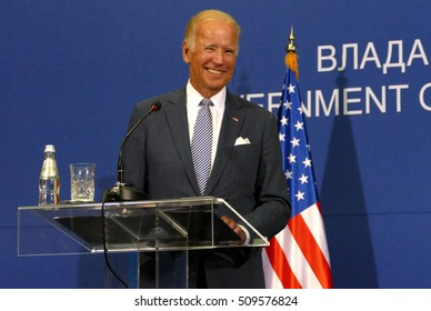 Belgrade, Serbia. 16th August, 2016. US Vice President Joseph 'Joe' Biden and Serbian PM Aleksandar Vucic holds a joint press conference