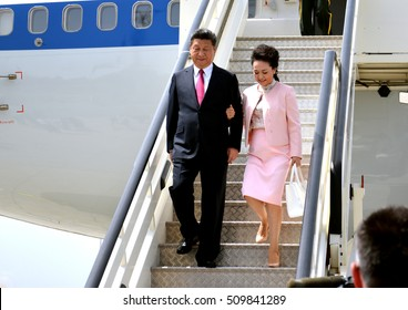 Belgrade, Serbia. 17th June, 2016. Chinese President Xi Jinping's plane landed at Belgrade's Nikola Tesla International airport. Xi and his wife, Peng Liyuan, were greeted by Serbian President