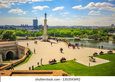 Belgrade, Serbia - 18. April 2017., View over the plateau on Kalemegdan fortress in Belgrade, during the spring day. Place is landmark and favorite gathering spot for tourists and visitors of the city
