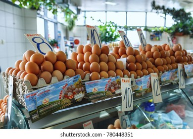 Belgrade, Serbia - 19 July, 2016: fresh eggs in the cortical tray the Serbian Zeleni Venac farmer's market in Belgrade