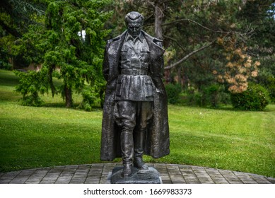 BELGRADE, SERBIA -22 MAY 2019- Statue of Josip Broz Tito at the Museum of Yugoslavia, a public history museum complex including the 25 May Museum, House of Flowers and Tito memorial centre.