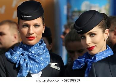Belgrade, Serbia, 23. February 2017. Beautiful stewardesses in uniform of Air Serbia attend tourism Fair in Belgrade. 02.23.2017.