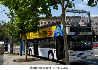 BELGRADE, SERBIA - 24 JUNE 2019: Sightseeing bus, parked on the stop where tour of discovering city starts