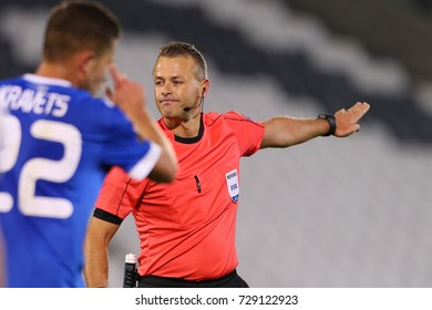 BELGRADE, SERBIA - 28 SEPTEMBER 2017: Main referee from Norway - Svein Oddvar Moen. UEFA Europa League group stage match Partizan - Dynamo.
