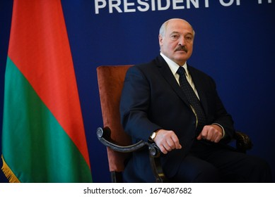 BELGRADE, SERBIA - 3 DECEMBER 2019: Aleksandar Lukashenko, president of Belorus during serbian-belorusian bilateral meeting in Belgrade, Serbia